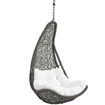 Hanging Resolve Swing Lounge Chair | Bronze | White Cushion