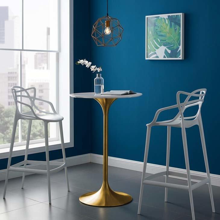 "Lila 28"" Round Bar Table | Gold Base"