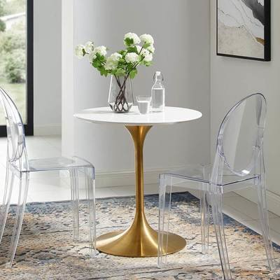 """Lila 28"""" Round Dining Table with Gold Base"""
