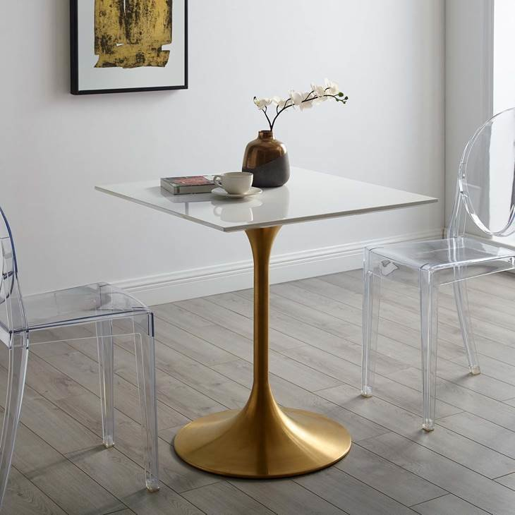 """Lila 28"""" Square Dining Table with Gold Base"""