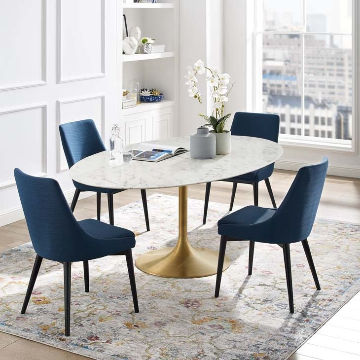 "Lila 78"" Oval  Dining Table with Gold Base"
