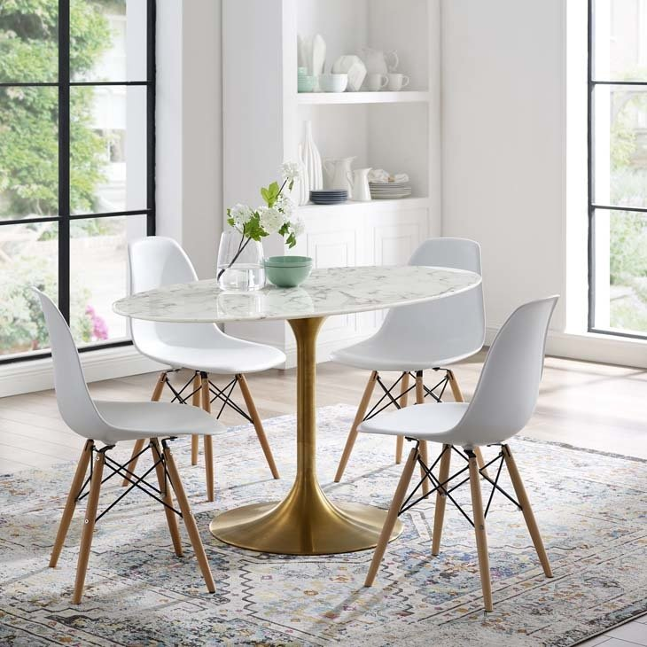"Lila 54"" Oval  Dining Table with Gold Base"