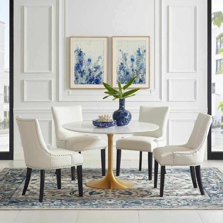 "Lila 47"" Round  Dining Table with Gold Base"