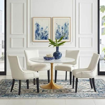 """Lila 47"""" Round  Dining Table with Gold Base"""