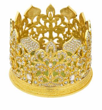 Gold Fleur De Lis Crown Wine Coaster