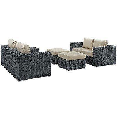 North Avenue Patio 5 Piece Conversation Set with Sunbrella® Cushion