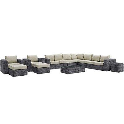North Avenue Patio 11 Piece Sectional Set   with Sunbrella® Cushion