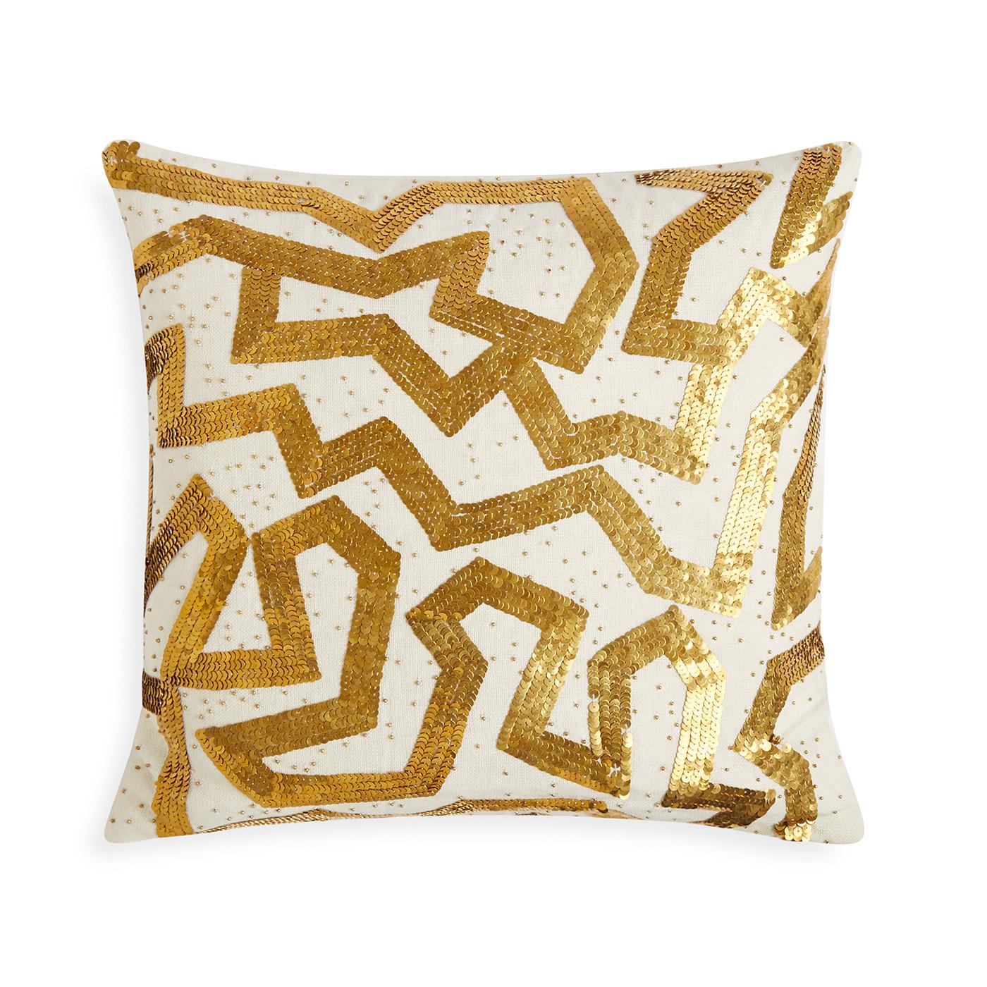 """Jonathan Adler Talitha Graffiti Gold 18"""" x 18"""" Pillow"""