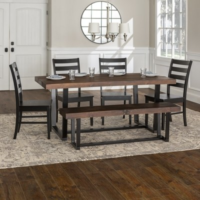 6-Piece Farmhouse Dining Set - Mahogany/Black