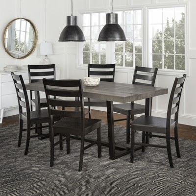 7-Piece Farmhouse Dining Set - Grey/Black