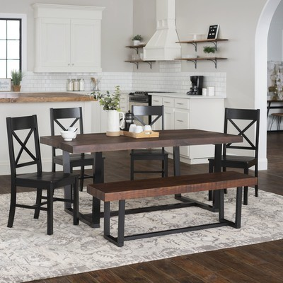 6-Piece Farmhouse X-Back Dining Set / Mahogany/Black