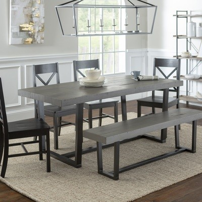 6-Piece Farmhouse X-Back Dining Set / Grey/Black