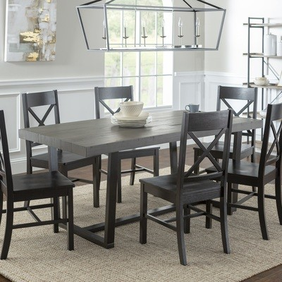 7-Piece Farmhouse X-Back Dining Set / Grey/Black