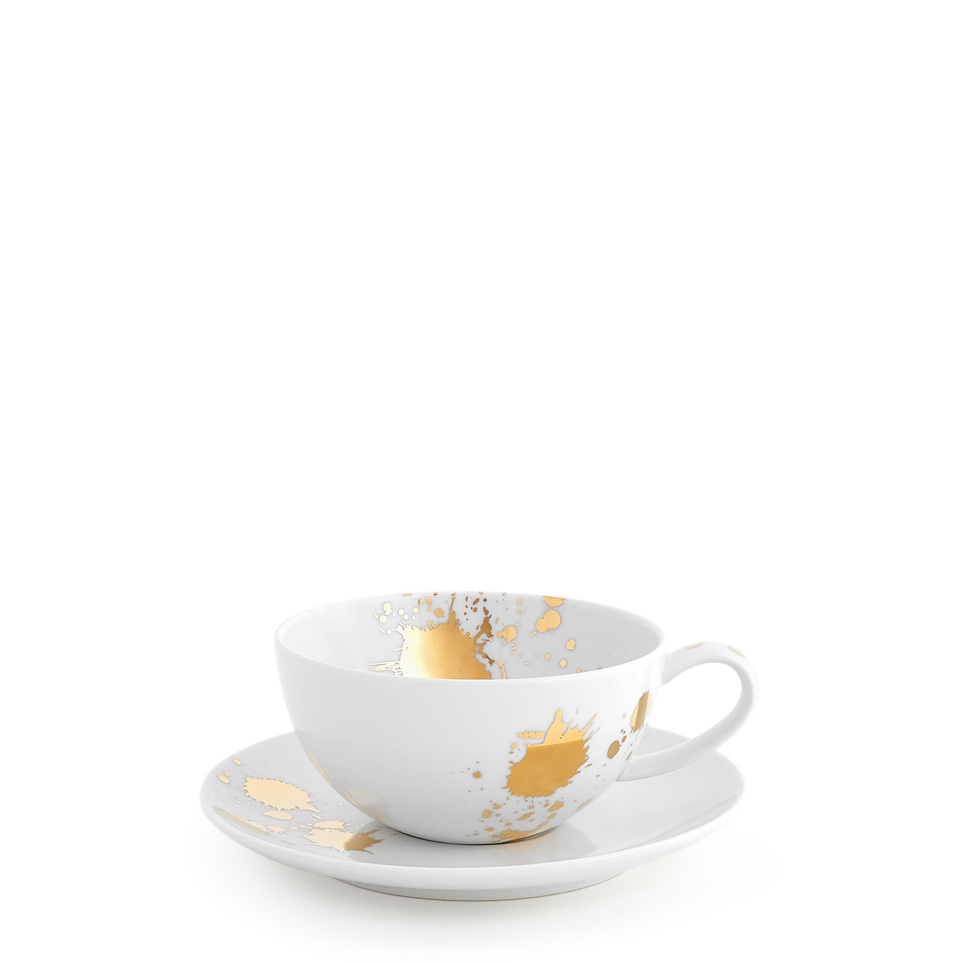 Jonathan Adler 1948 White and Gold Tea Cup and Saucer / Set of 8
