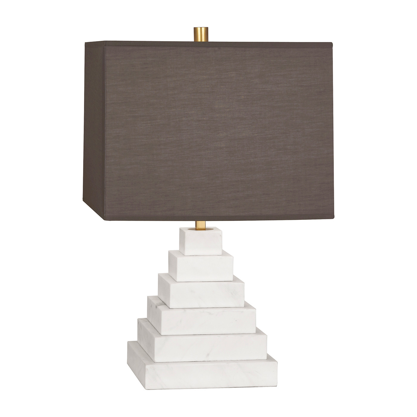 Canaan Pyramid White Marble | Gray Shade Table Lamp