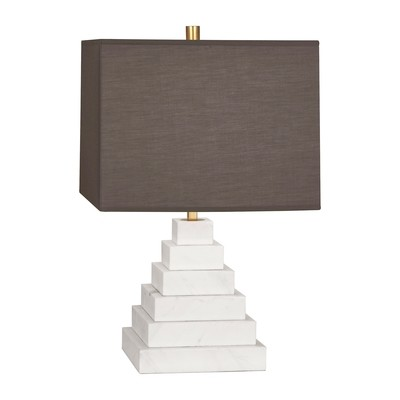 Canaan Pyramid White Marble/Gray Shade Table Lamp
