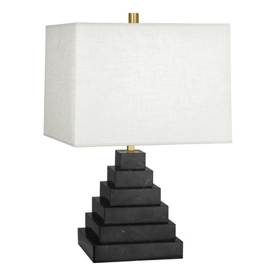 Canaan Pyramid Black Marble/White Shade Table Lamp