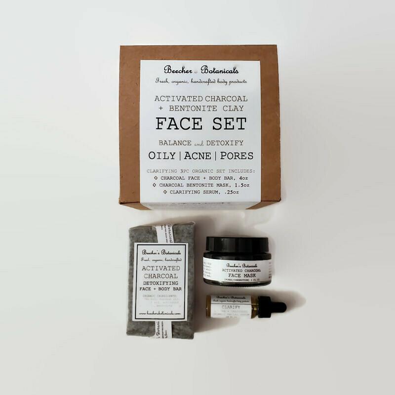 CHARCOAL + BENTONITE 3-pc Face Set [oily, acne, pores]