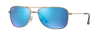 Ray Ban 3543 Gold Blue Mirror Chromance Polarized