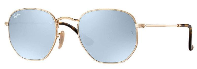 Ray Ban Hexagonal Flat Lenses Gold Silver Flash