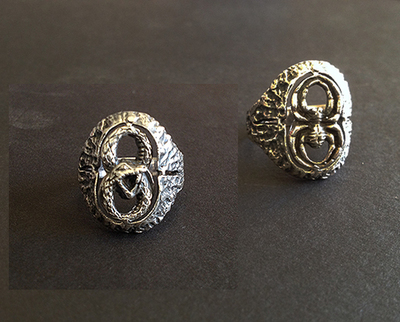 Silver Ouroborus /Spider Pinky Ring
