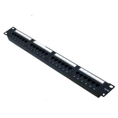 24 Port Cat-6A Patch Panel with Wire Managemant Bar