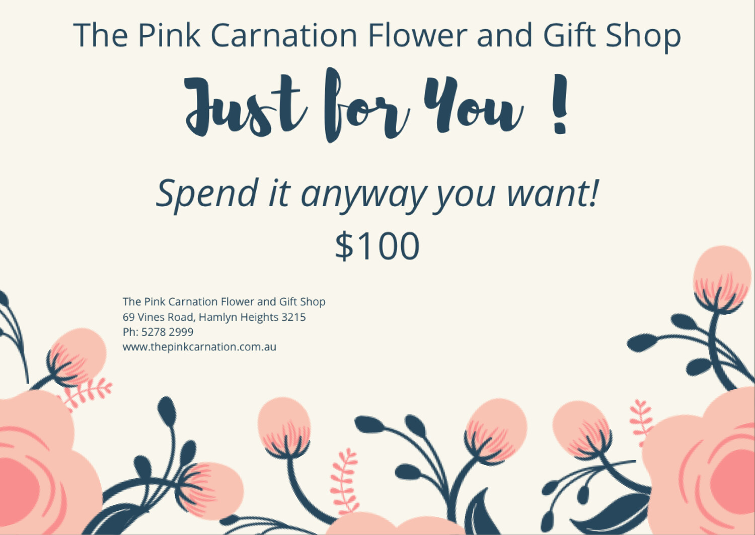 The Pink Carnation Flower and Gift Shop - $100 Voucher