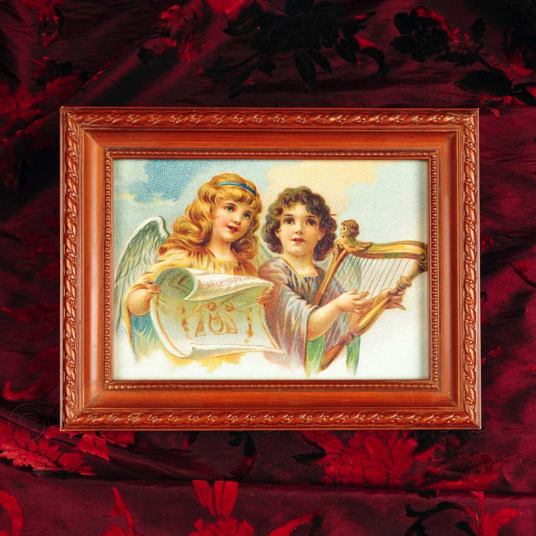 Houten lijstje met vintage afbeelding - 2 engelen