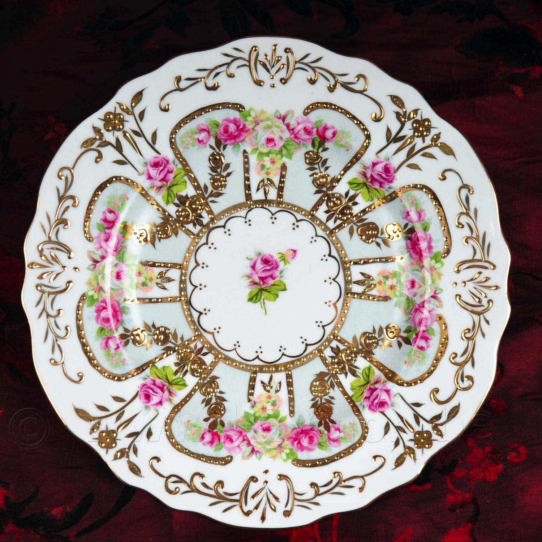 4st Dessertbordjes 18cm roosjes met goudopdruk - Meander
