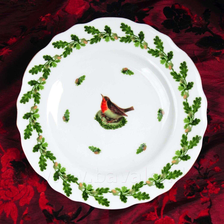 Dessertbordjes 21 cm roodborstje met eikentakjes - Meander