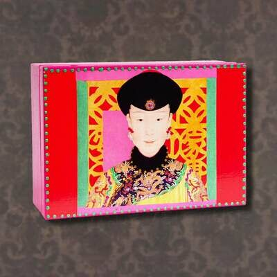 Houten juwelenkistje met illustratie Chinese hofdame - Natasha Farina