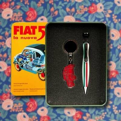 Fiat 500 balpen en sleutelhanger in blikken geschenkdoos