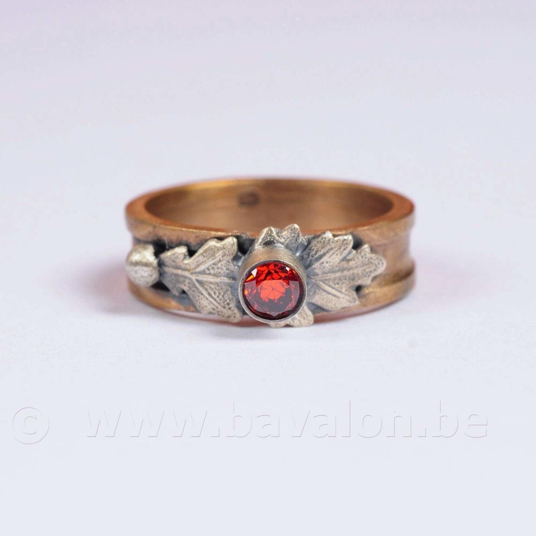 Ring in gesmeed brons met massief zilver - Lize Mommaerts - Maat 55