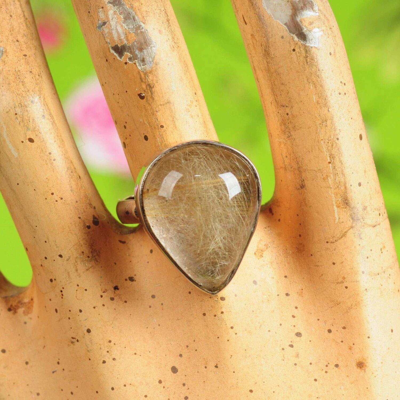 Ring in massief zilver m/cabochon van toermalijn - Maat 60