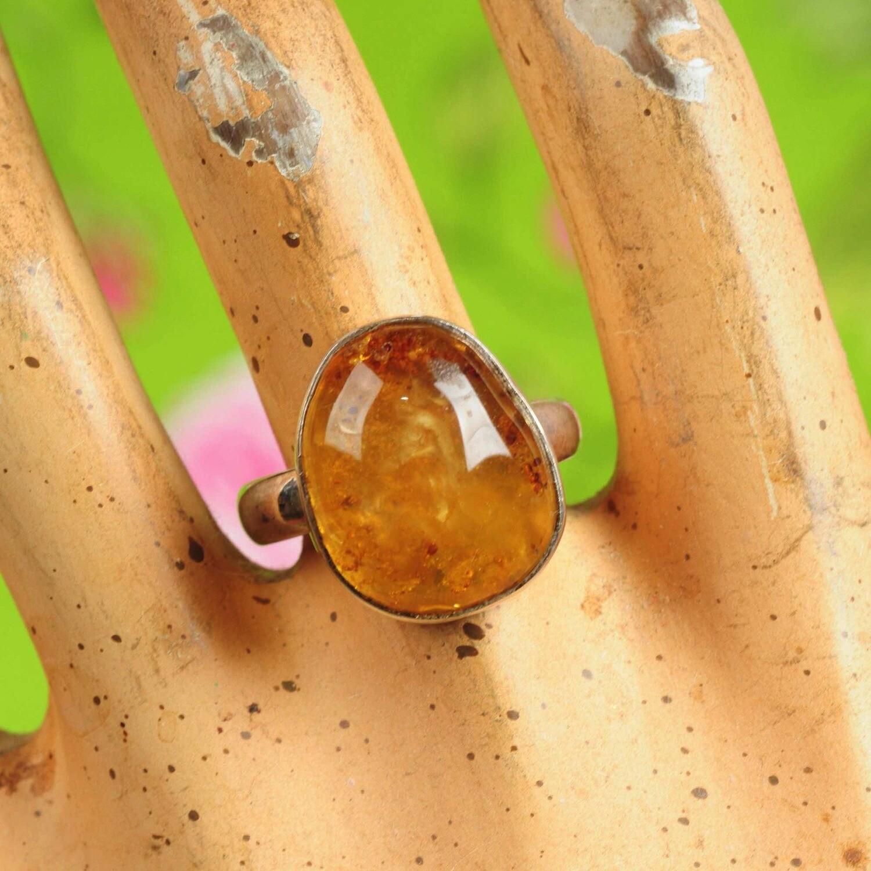 Ring in massief zilver m/amber (barnsteen) - Maat 59,5