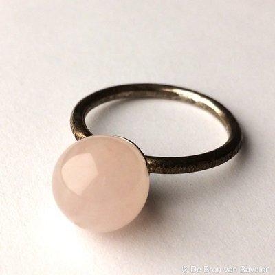 Ring in massief zilver m/rozekwarts bol - Les Deux (België) - Maat 55