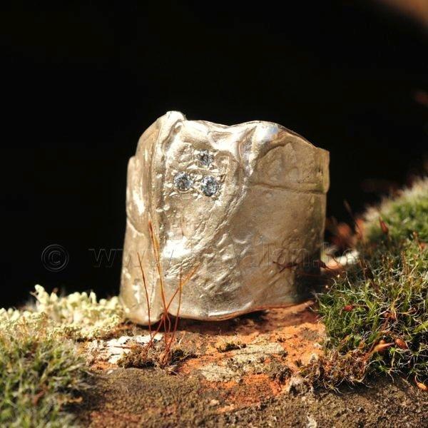 Ring in massief zilver m/3 zirkonium - Ralf De Burchgrave (België)