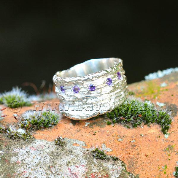 Ring in massief zilver met 5 briljant amethist - Ralf De Burchgrave (België)