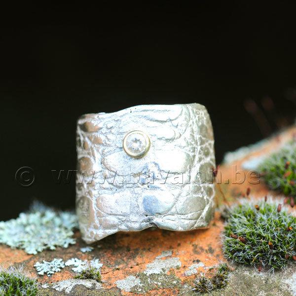 Ring in massief zilver met 1 briljant zirkonium in goud - Ralf De Burchgrave (België)