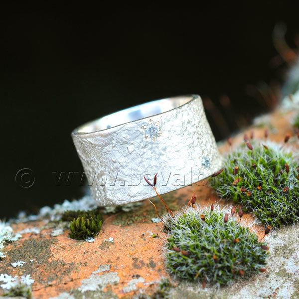 Ring in massief zilver met 5 briljantjes zirkonium - Ralf De Burchgrave (België)