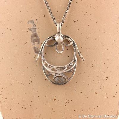 Halsketting zilver - Labradoriet - Lize Mommaerts