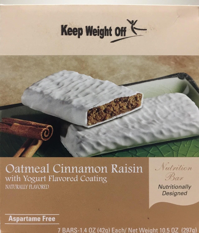 Oatmeal Cinnamon Raisin Bar with Yogurt Coating - 7 Bars