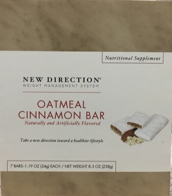 New Direction Oatmeal Cinnamon Bar 7/Box