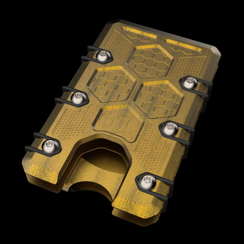 2.5 Titanium wallet Gold/black Battleworn Cerakote