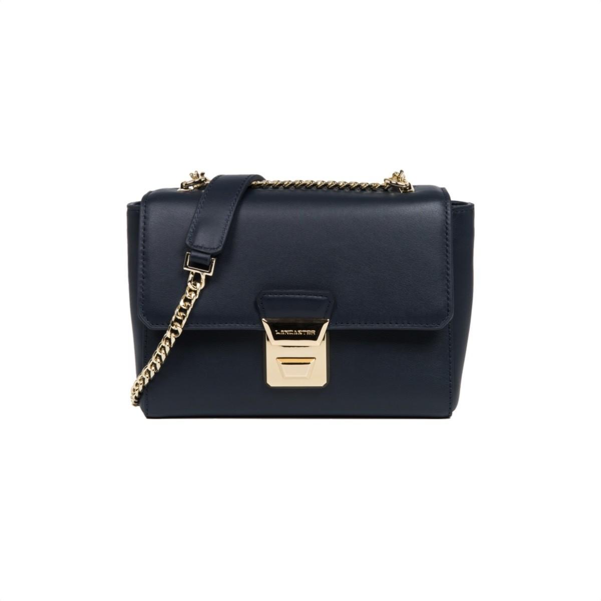 LANCASTER - Small crossbody bag with flap - Bleu Fonce