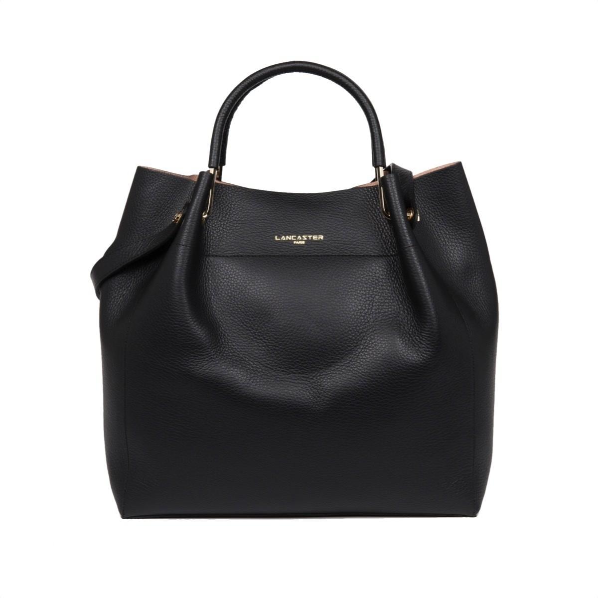 LANCASTER - Large shoulder Louisa bag - Noir/Nude