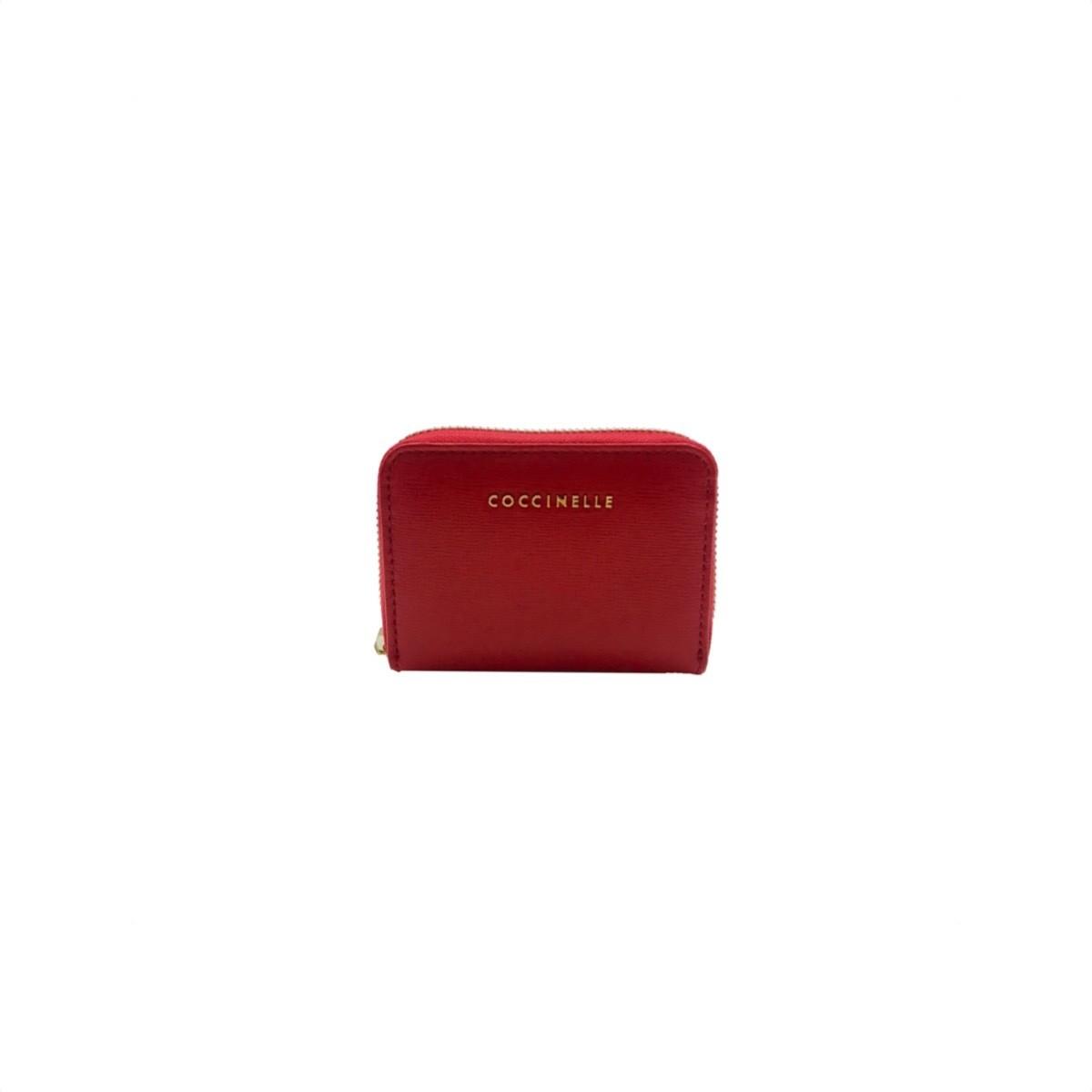 COCCINELLE - Metallic Saffiano Portacarte - Coquelicot