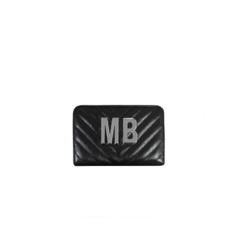 MIA BAG - Portafoglio piccolo Personalizzabile - Nero con finiture ARGENTO