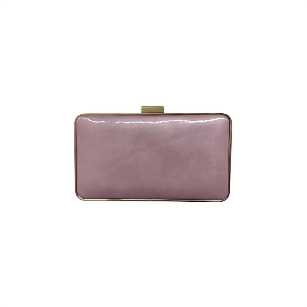 COCCINELLE -Leather Box Craclè Pochette rigida - Malva