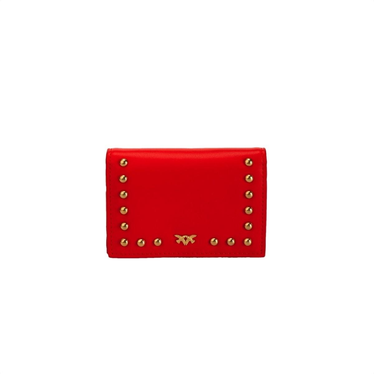 PINKO - Betsabea Porta Carte di Credito in pelle con borchie - Red
